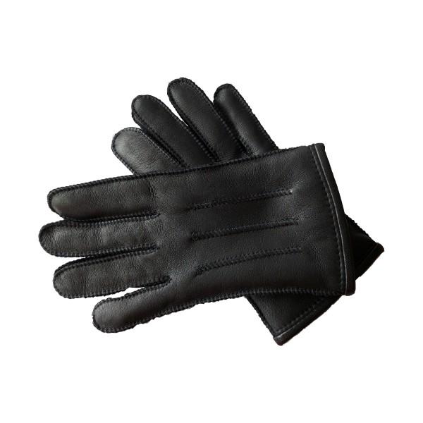 Lammfell-Fingerhandschuhe, Nappa, Schwarz
