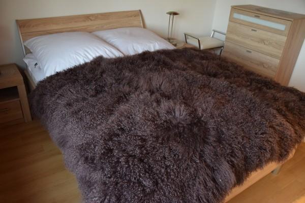 Tibetlamm Felldecke, 120x180 cm Plaid, Tagesdecke, Überwurf, Farbe Braun