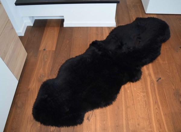 Premium Doppel Schaffell Duo (aus 2 Fellen) Farbe: Schwarz
