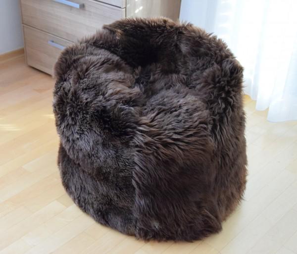 Lammfell Sitzsack Rund Natur Braun, 65 cm Durchmesser