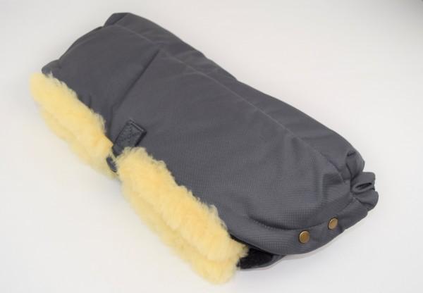 Lammfell Handwärmer für den Kinderwagen, Hand Muff, HW-02, Farbe Grau