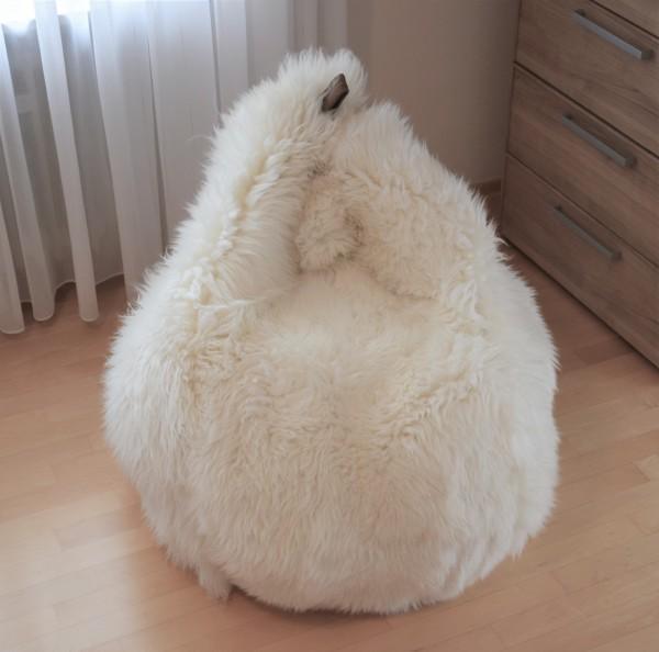 Lammfell Sitzsack Teardrop, Tropfenförmig, Natur Braun