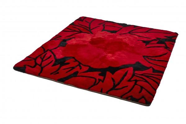Design Lammfell Teppich 180 x 200 cm, Rote Rose, Unikat