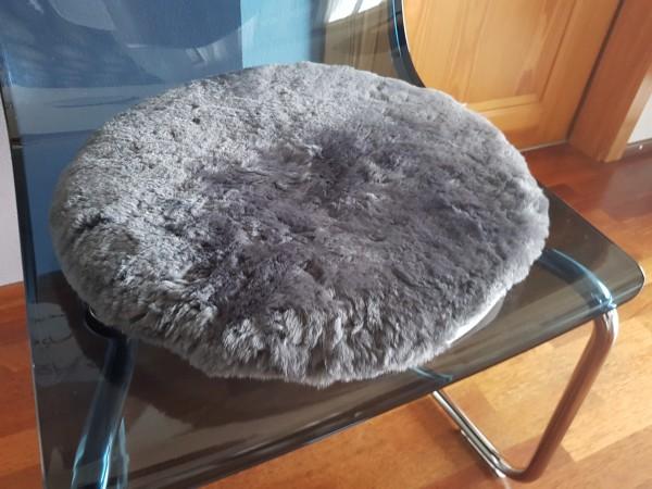 Lammfell Sitzkissen, Visco Schaum, rund 38 cm, Grau