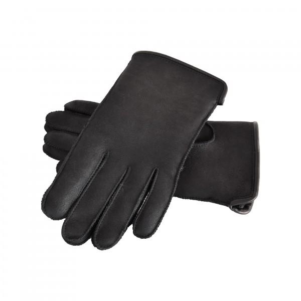 Fingerhandschuhe Lammfell, Damen und Herren, Schwarz