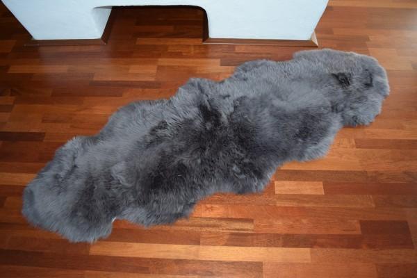 Premium Doppel Schaffell Duo (aus 2 Fellen) Farbe: Grau