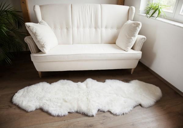 Premium Doppel Schaffell Duo (aus 2 Fellen) Farbe: Weiß