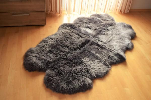 """Premium Lammfell """"Quadro"""" (aus 4 Fellen) Teppich, Farbe Grau"""
