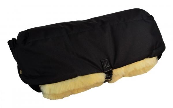 Lammfell Handwärmer für den Kinderwagen, Hand Muff, HW-02, Farbe Schwarz