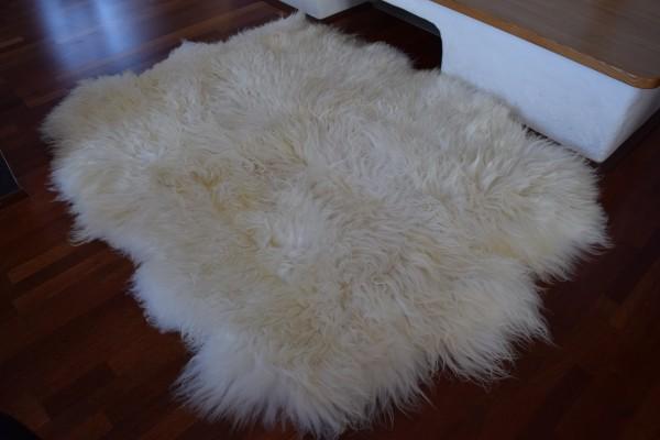 """Island """"Sexto"""" Lammfell (aus 6 Fellen) Teppich, Wollweiss"""