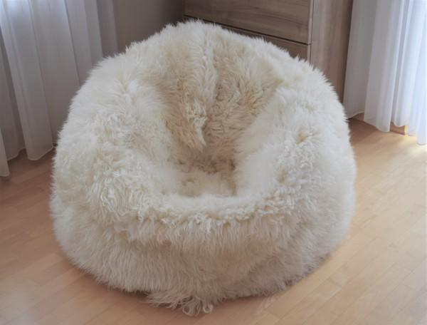 Lammfell Sitzsack Rund Weiss 100 cm Durchmesser