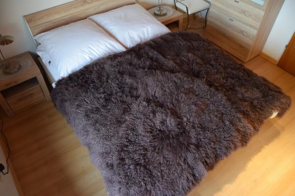 Tibetlamm Felldecke, 150x200 cm Plaid, Tagesdecke, Überwurf, Farbe Braun